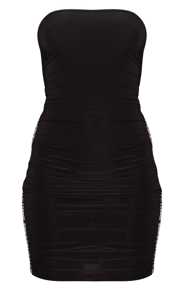 PRETTYLITTLETHING Black Ruched Bandeau Bodycon Dress 3