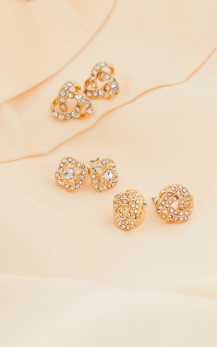 Gold Diamante Knotted Stud Earrings Multi Pack 2