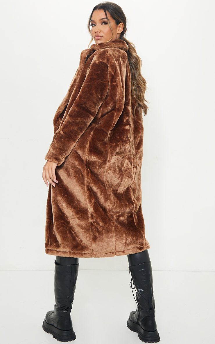 Brown Large Lapel Midaxi Faux Fur Coat 2