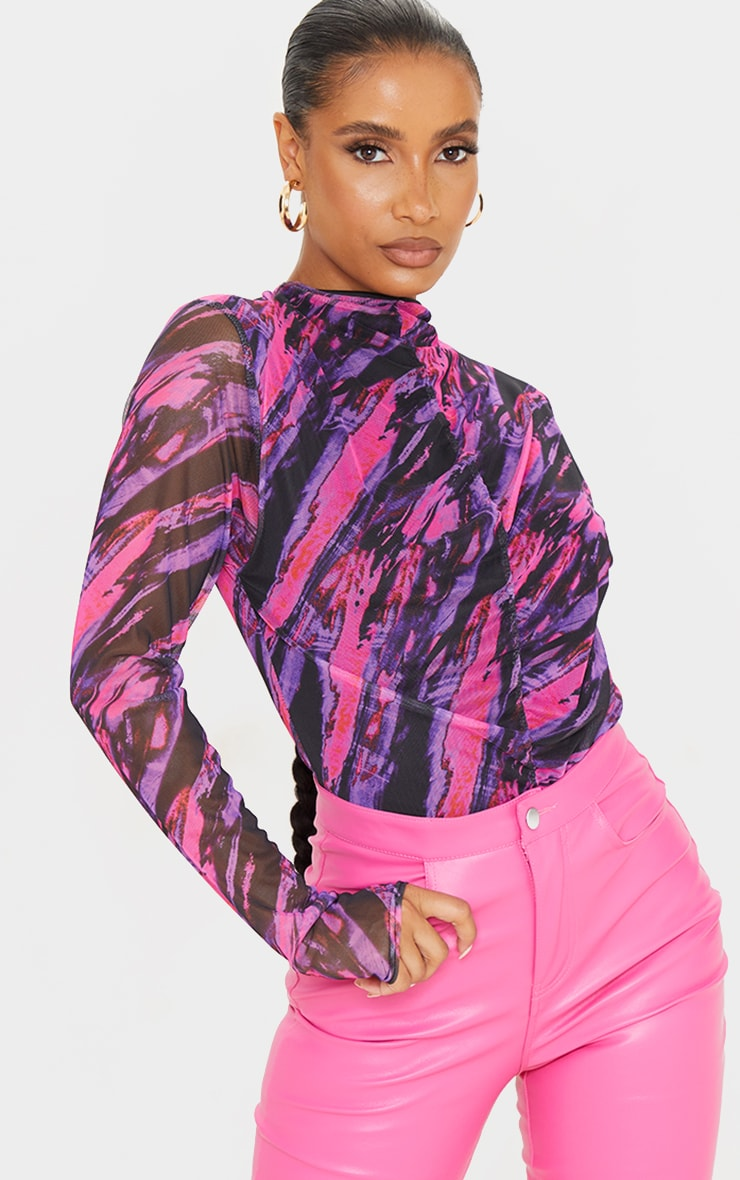 Pink Abstract Stripe Printed Mesh Ruched Front Long Sleeve Bodysuit 1