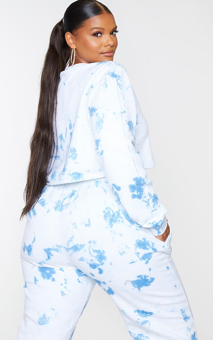 Plus Blue Tie Dye Cropped Sweater 2