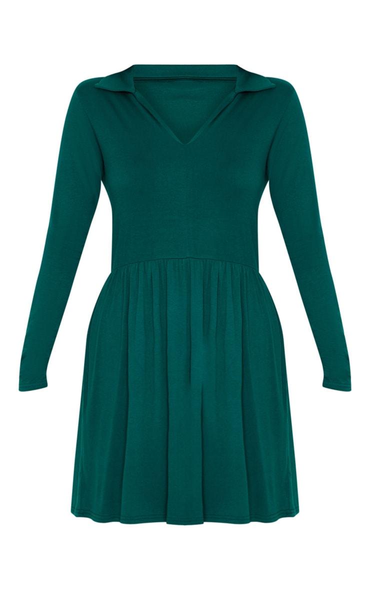 Emerald Green Tiered Long Sleeve Smock Dress 3