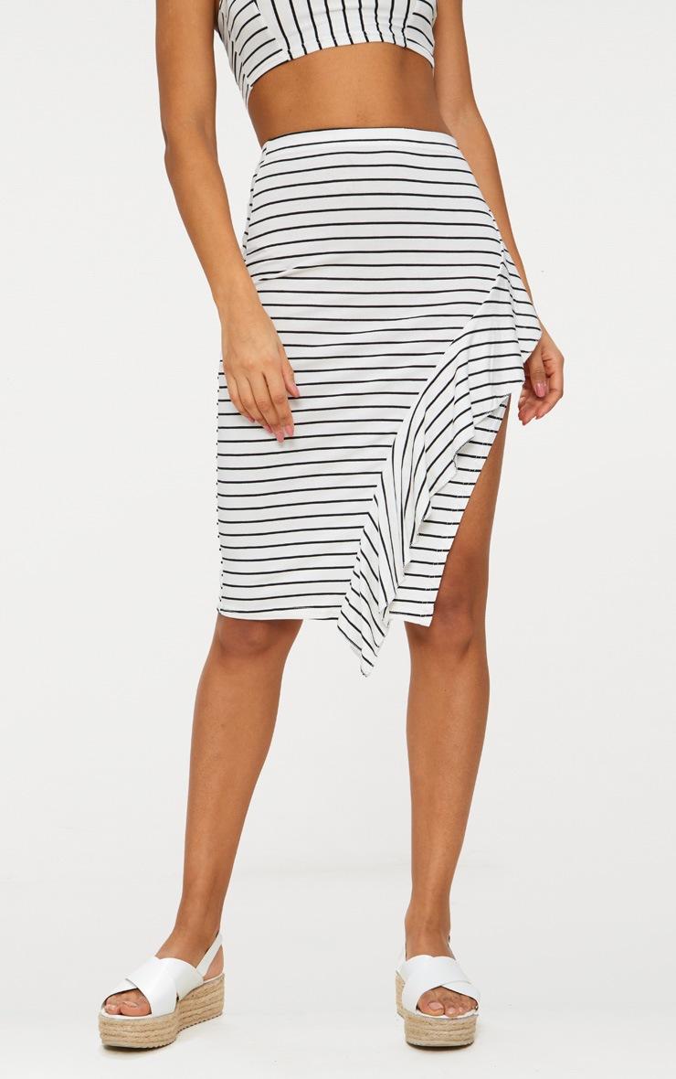 Black Stripe Split Side Ruffle Front Skirt  2