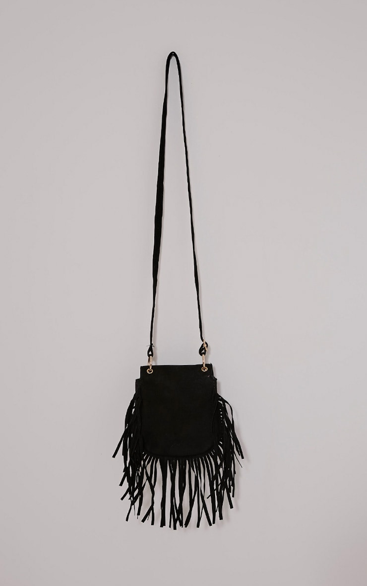Gemah Black Fringed Shoulder Bag 3