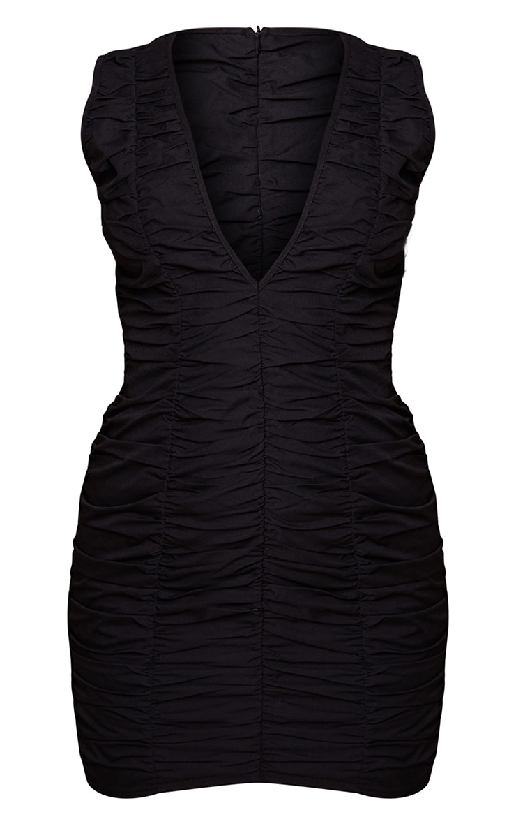 Black Woven Ruched Sleeveless Plunge Bodycon Dress 5