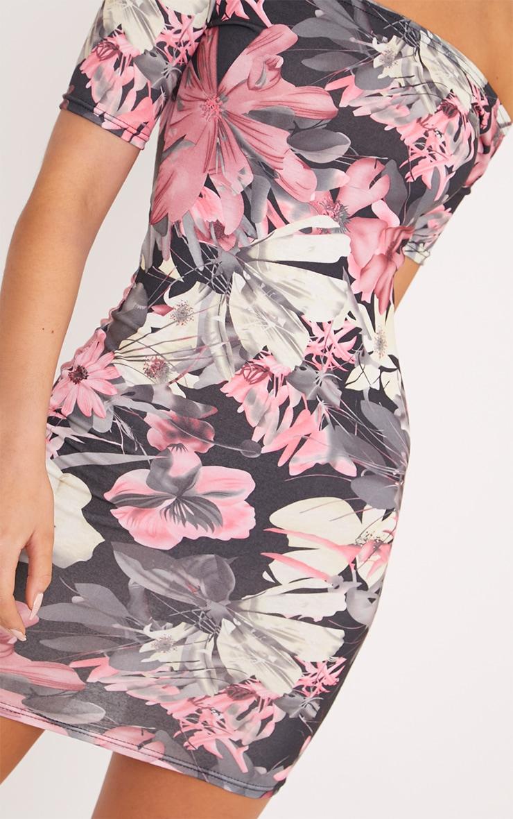 Kendah Pink Floral Bardot Cap Sleeve Bodycon Dress 5