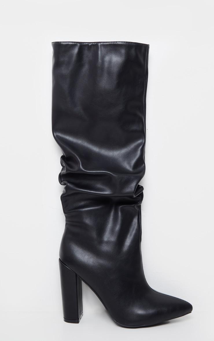 Black Slouch Block Heel Calf Boot 2