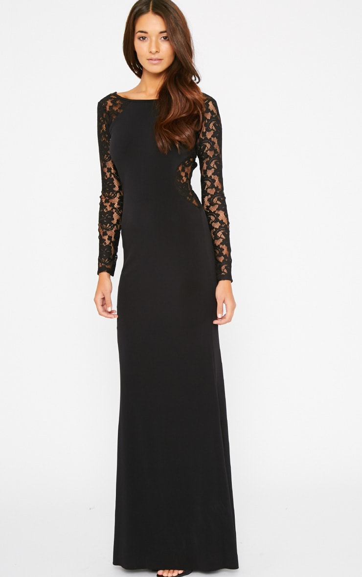 Debbie Black Lace Insert Maxi Dress 4