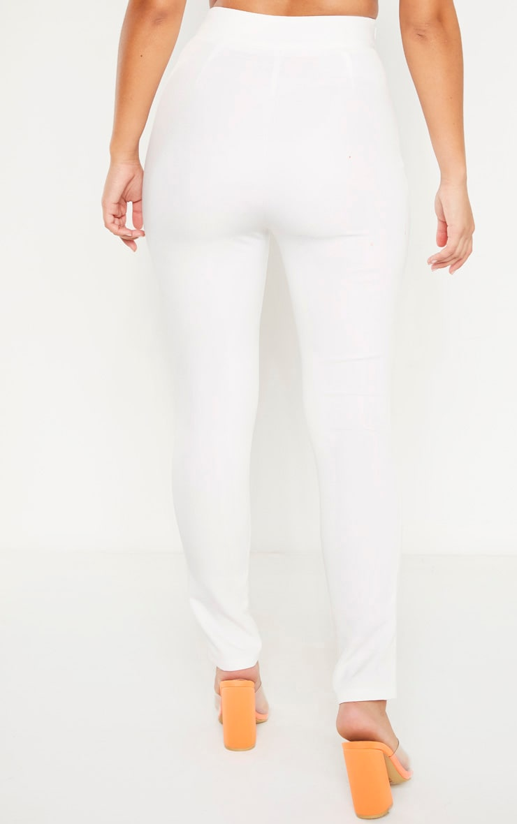 Plain White High Waisted Lace Up Straight Leg Trouser 4