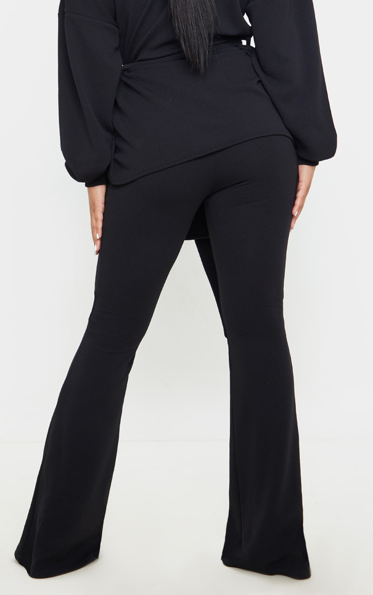 Petite Black Crepe Flared Trousers  4