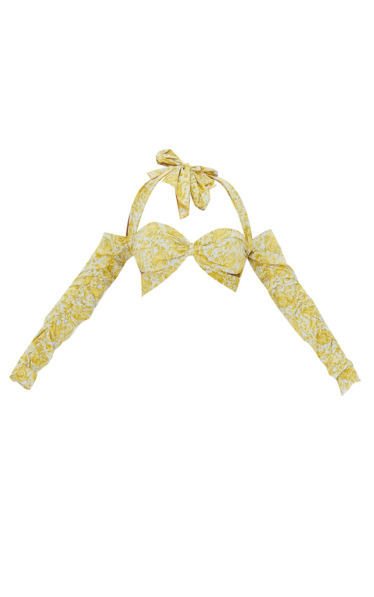 Lime Printed Satin Multiway Bardot Tie Crop Top 5