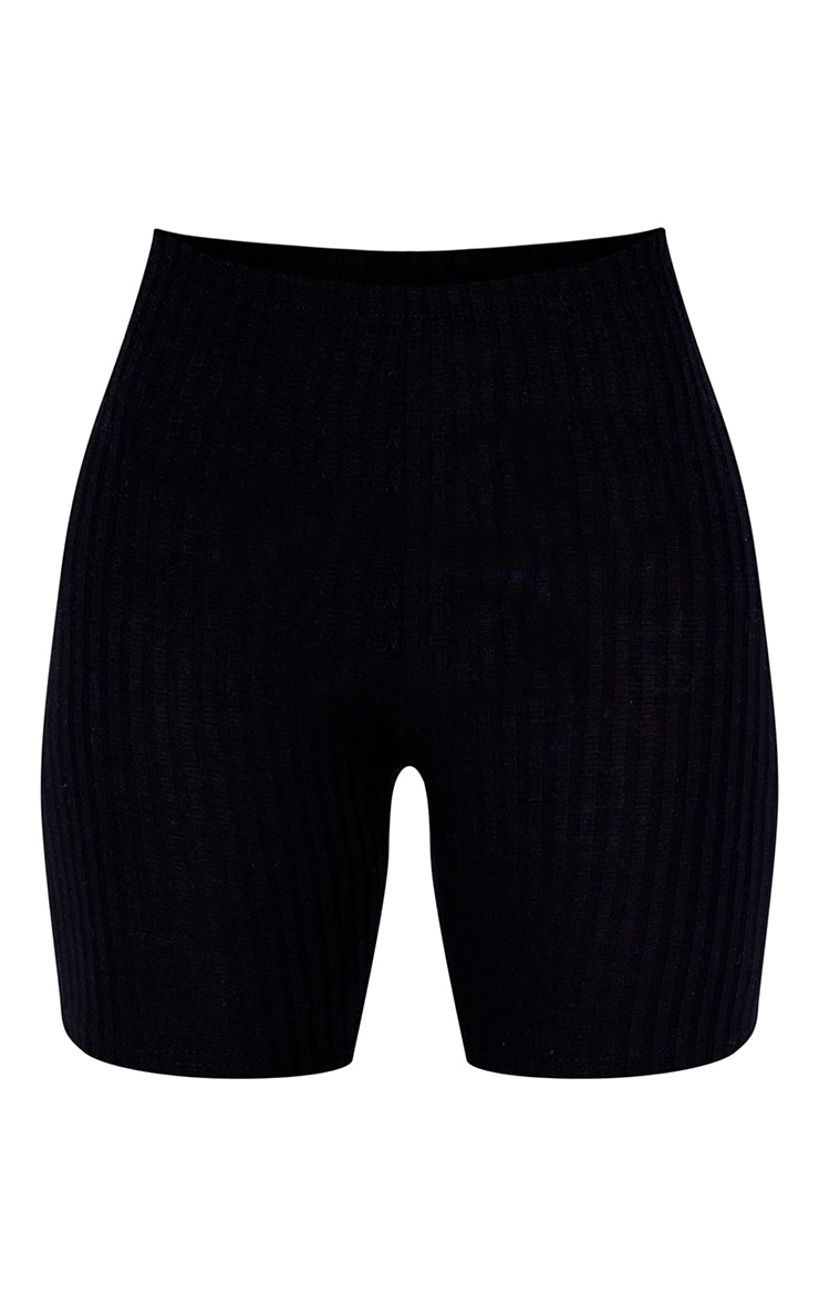 Black Ribbed Biker Shorts 1