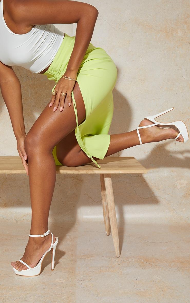 White Wide Fit PU Platform Strappy High Heels 2