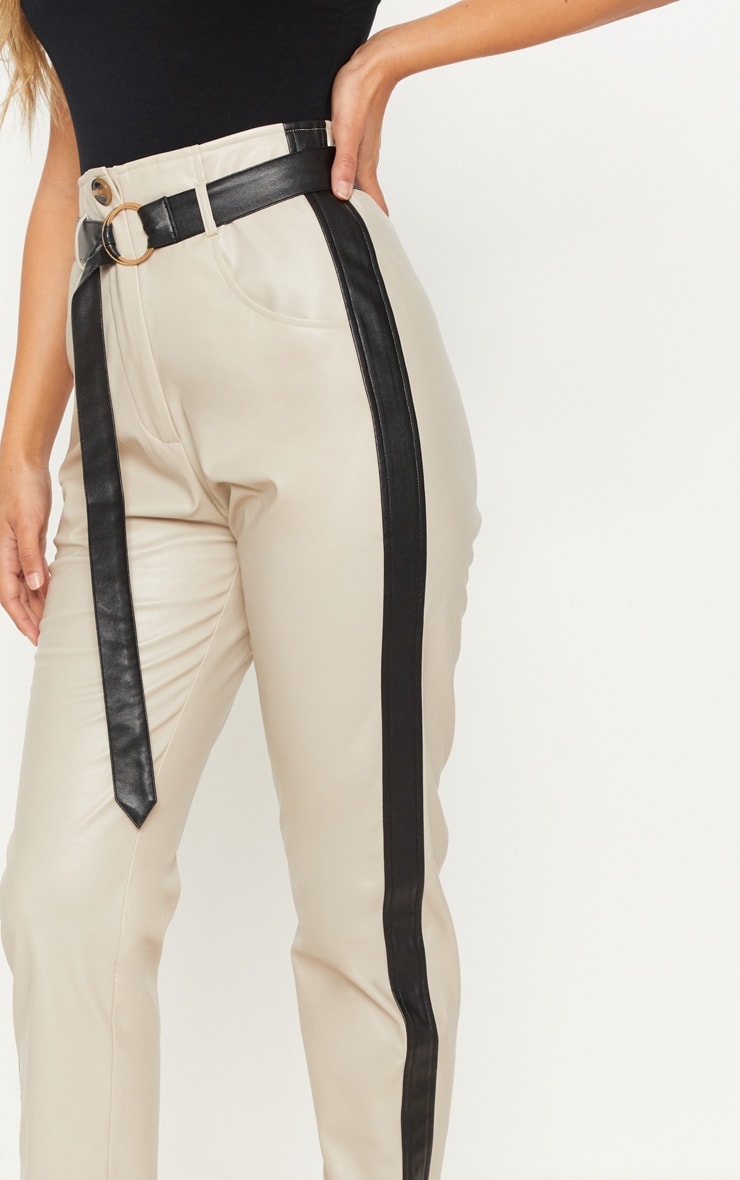 Taupe Faux Leather Side Stripe Trousers 5