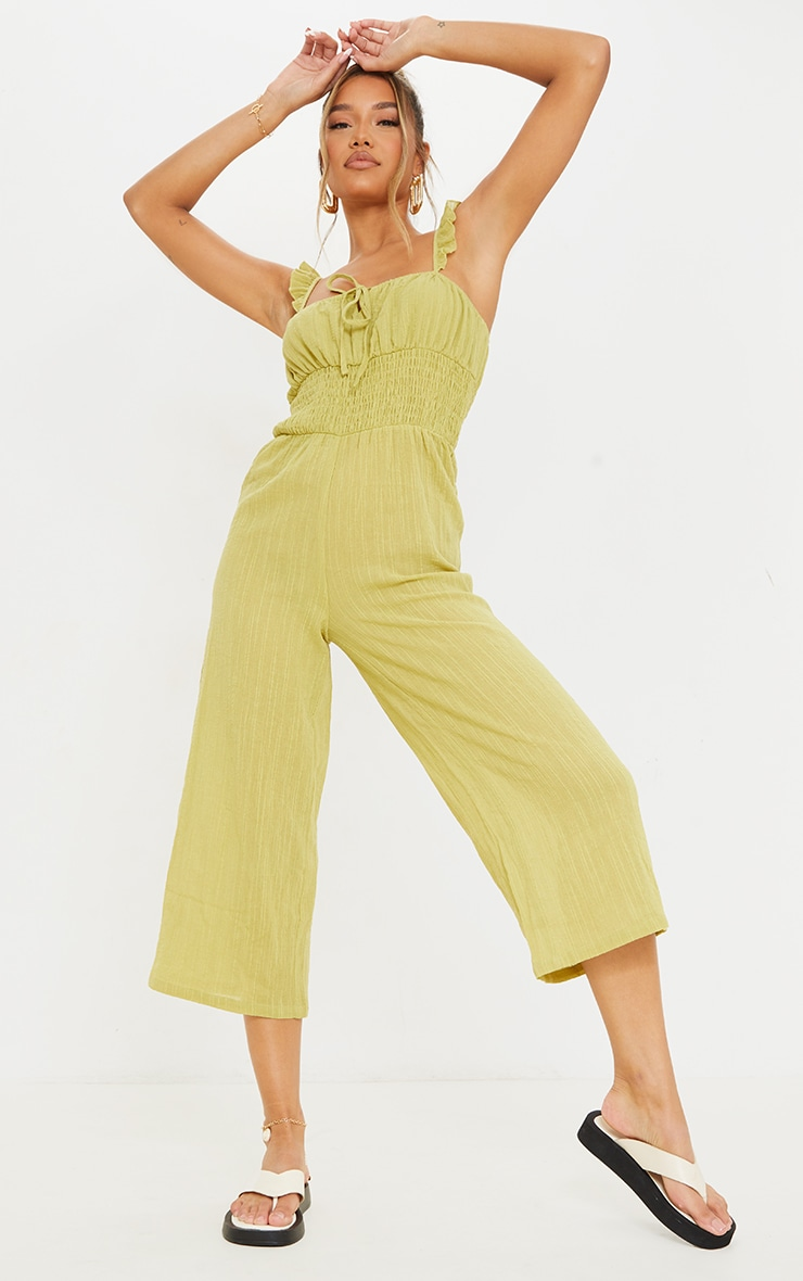 Lime Shirred Waist Frill Strap Culotte Jumpsuit 3