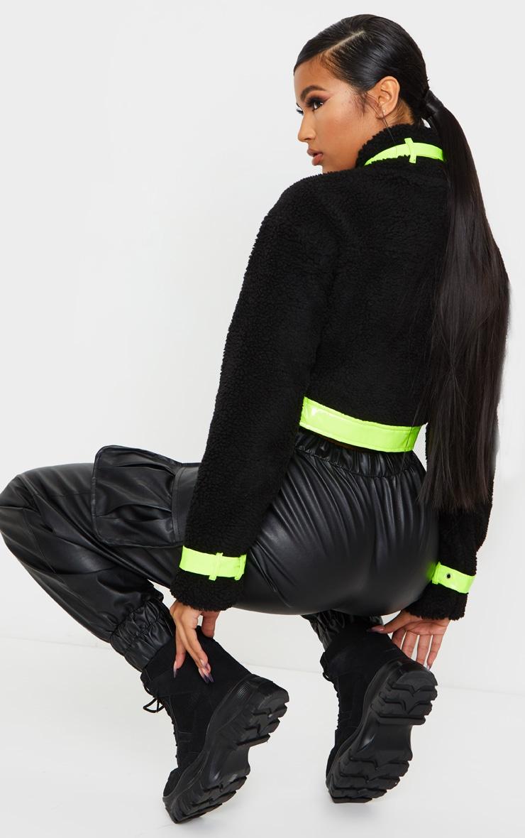 Black Borg Contrast Trim Zip Through Jacket 2