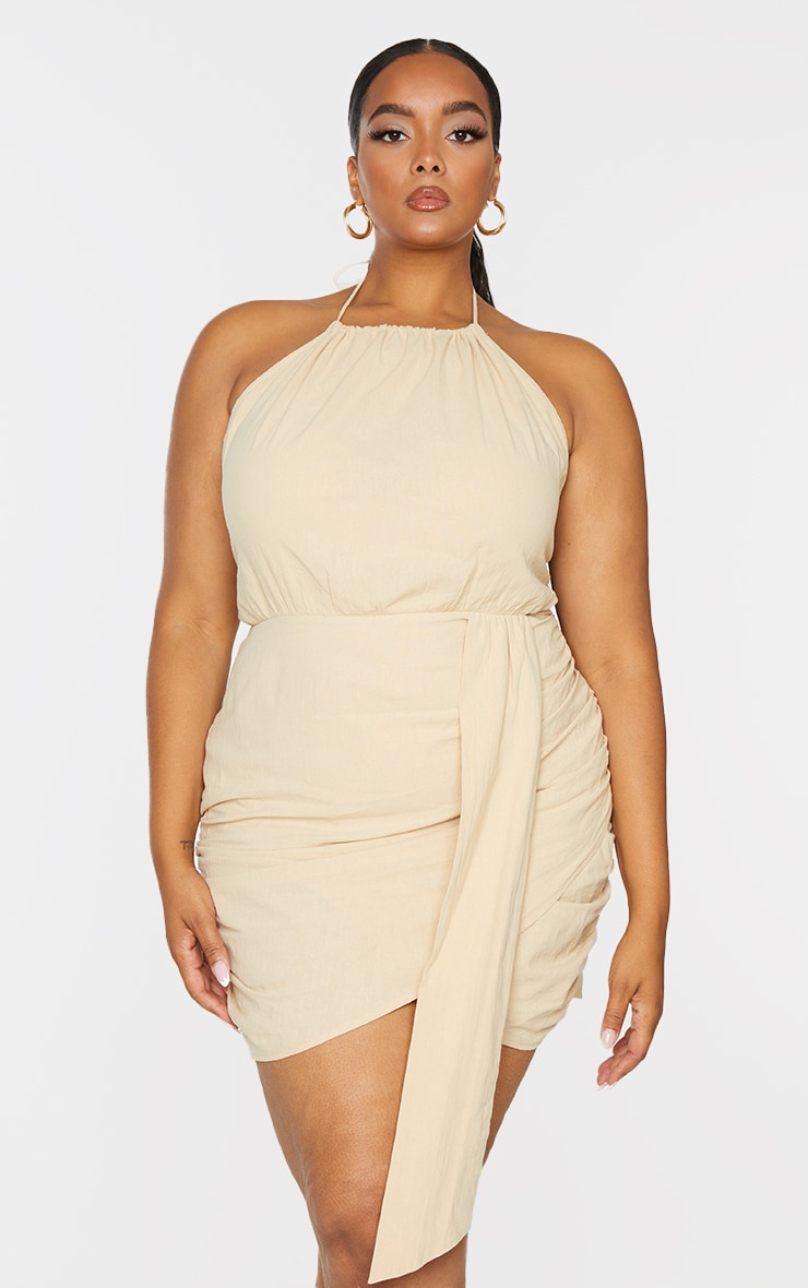 Plus Oatmeal Linen Look Drape Detail Bodycon Dress 3