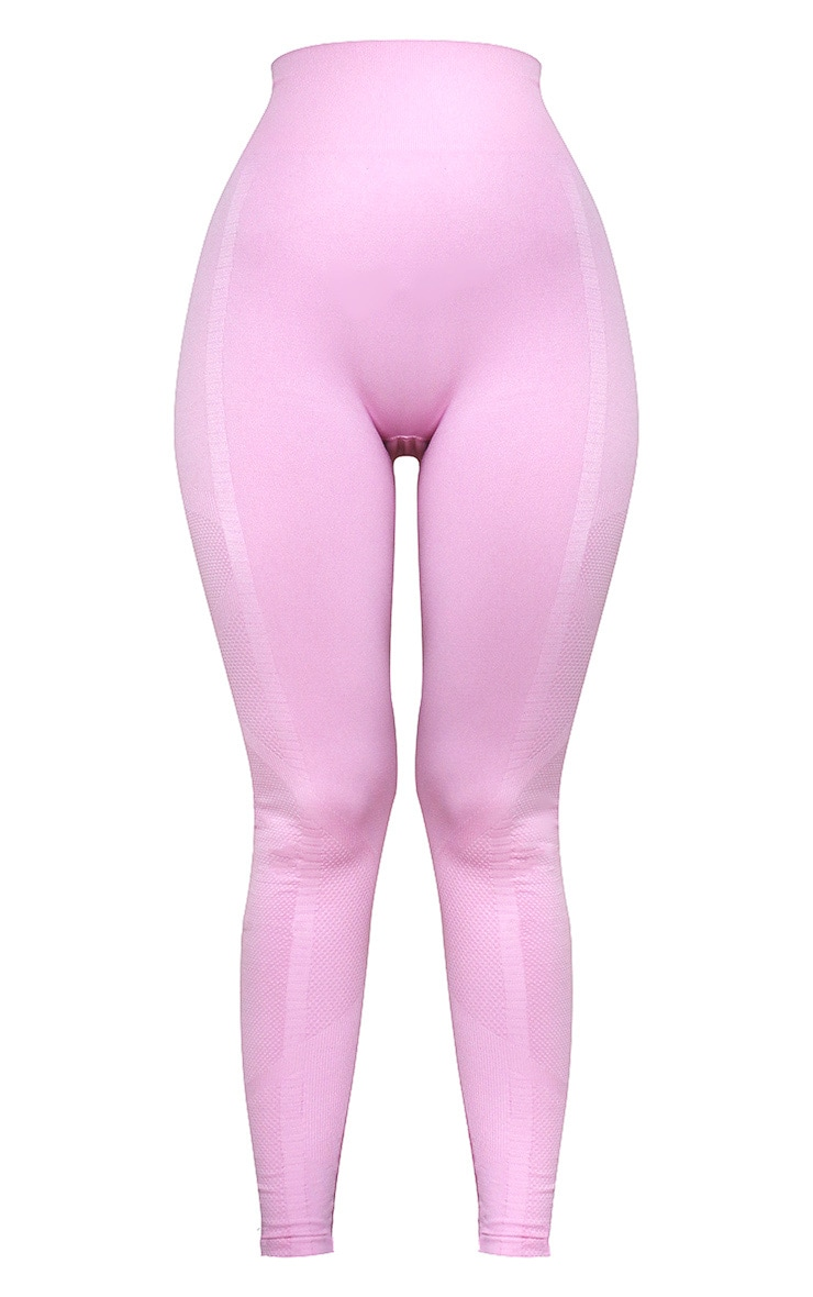Pink Seamless High Waist Textured Gym Leggings 5