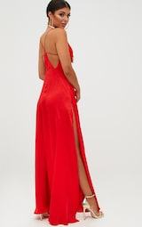 Red Extreme Split Strappy Back Maxi Dress 2