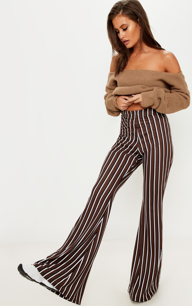 Chocolate Jersey Vertical Stripe Flared Trouser