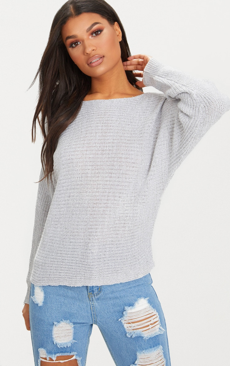 Grey Batwing Fisherman Jumper 1