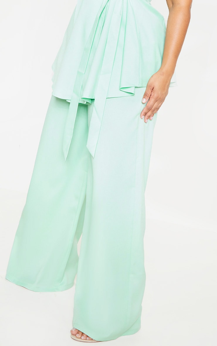 Plus Sage Green Woven Wide Leg Pants 5