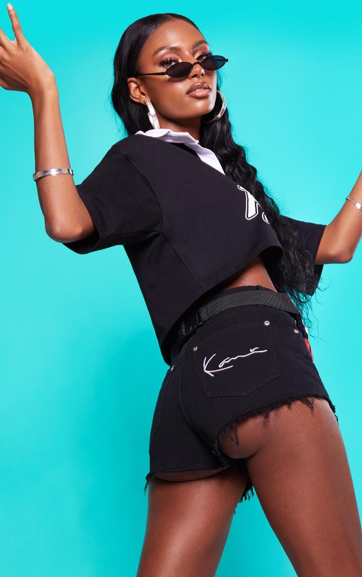 KARL KANI Black Denim Shorts 2