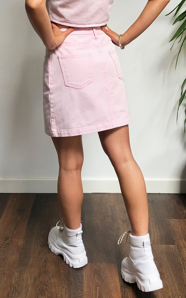 Washed Pink Denim Zip Skirt 4
