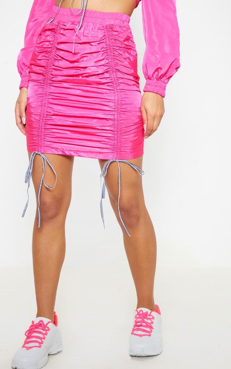 Bright Pink Ruched Front Shell Mini Skirt 3