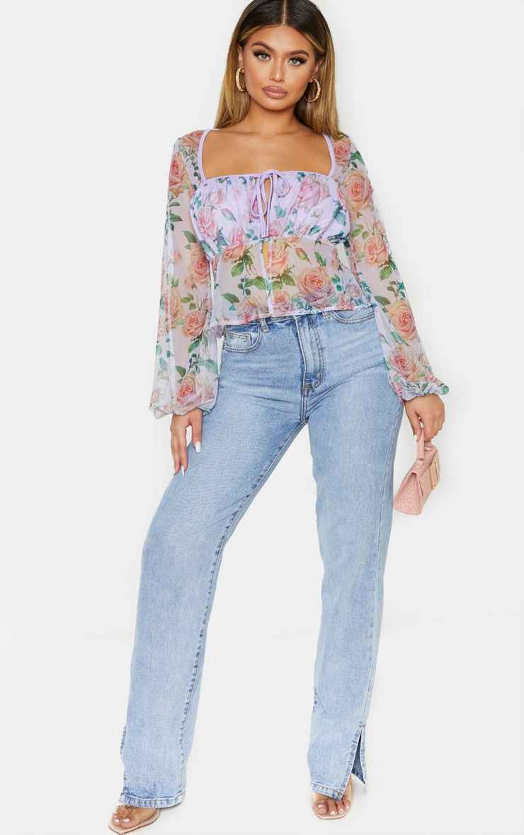 Lilac Floral Sheer Tie Front Bell Sleeve Blouse