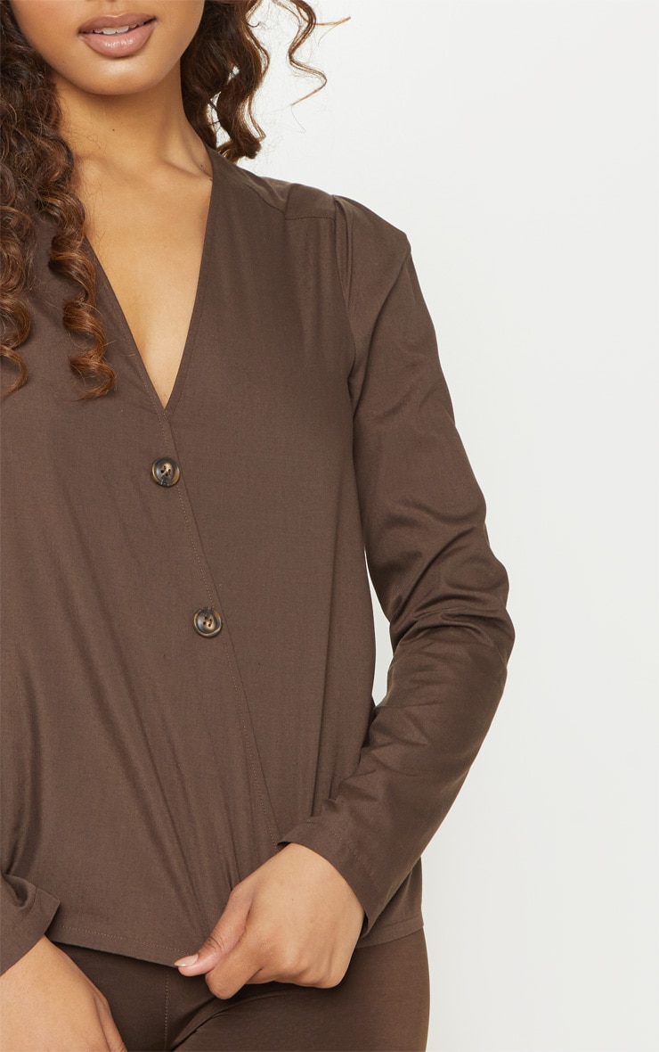 Tall  Chocolate Brown Woven Button Front Blouse 5