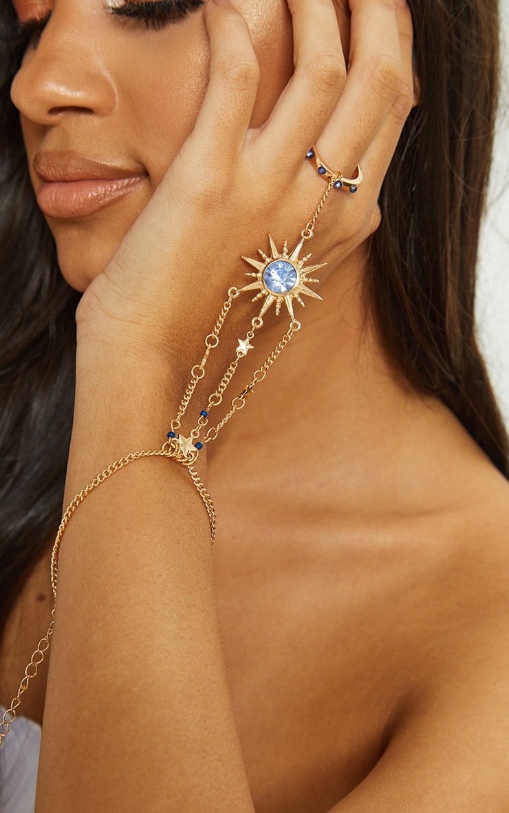 Gold Sun Blue Gem Hand Chain 1