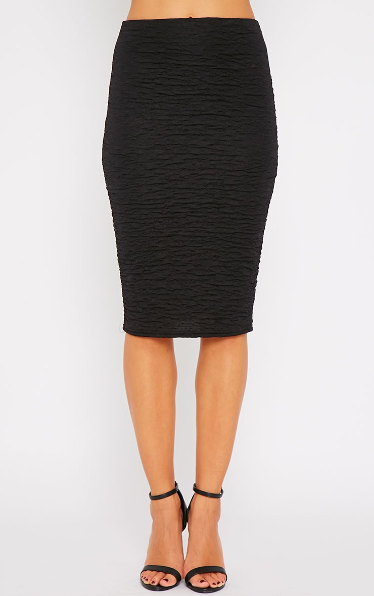 Lilly Black Crinkle Midi Skirt 5