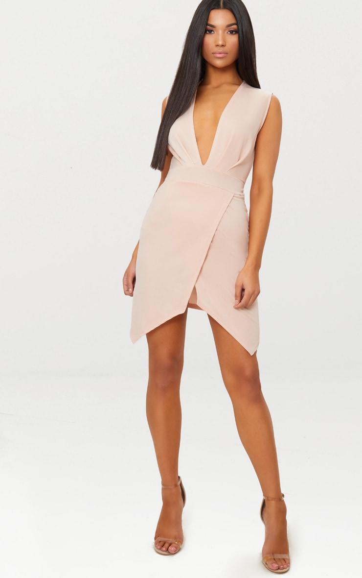 Nude Plunge Pointy Hem Wrap Bodycon Dress 5