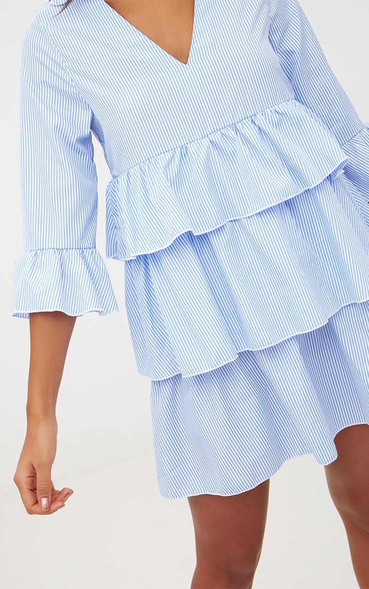 Blue Striped Frill Smock Dress 5