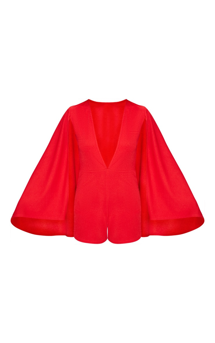 Red Crepe Cape Playsuit 2