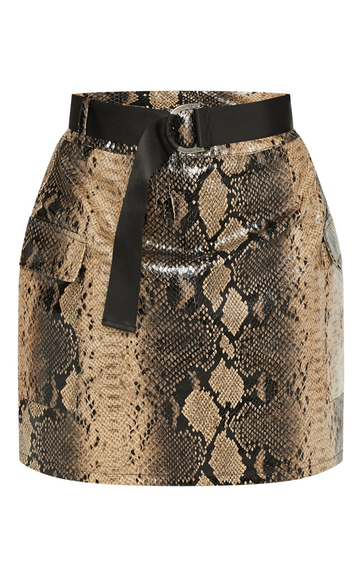 Brown Faux Leather Snakeskin Belted Mini Skirt 3