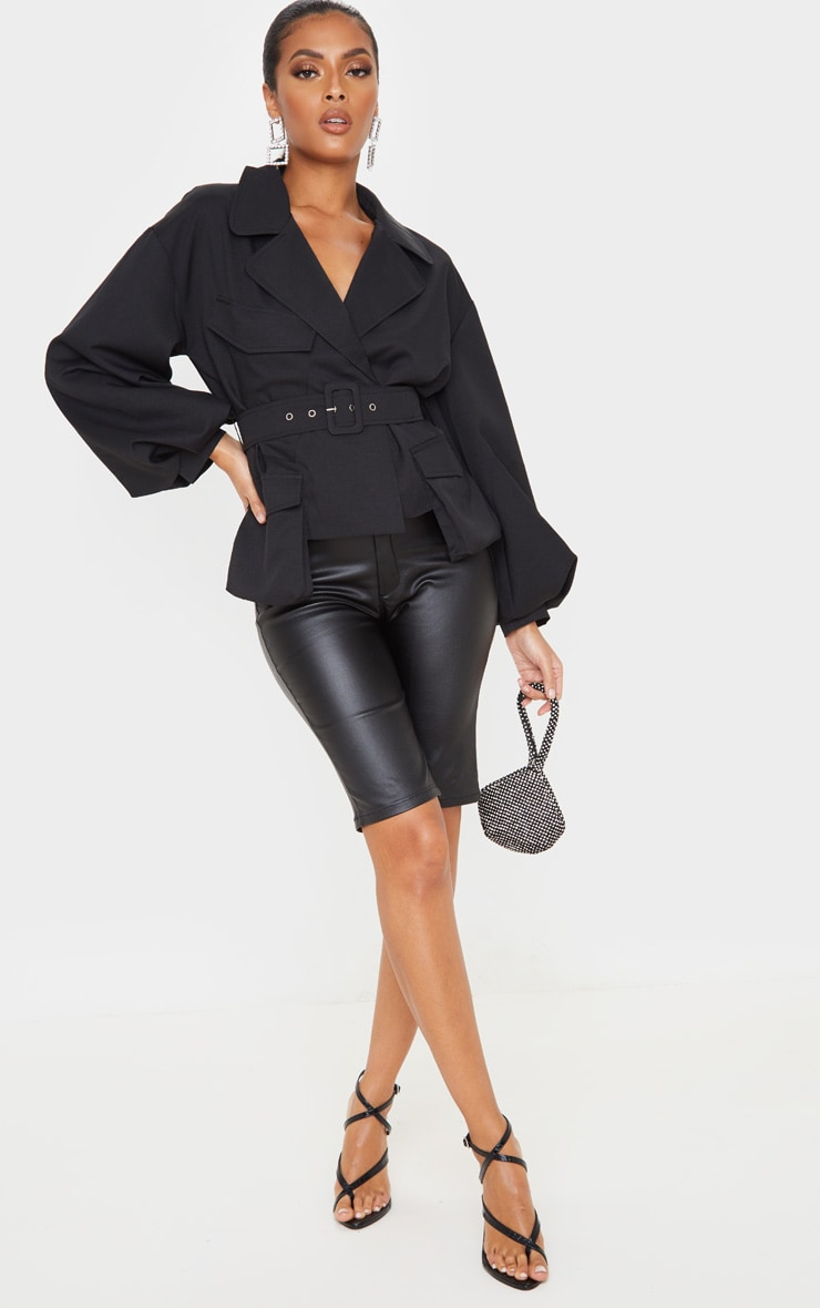 Black Woven Puff Sleeve Belted Jacket 4