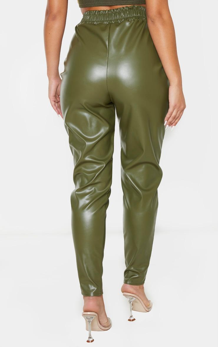 Pantalon fuseau en similicuir kaki à détail zip 4