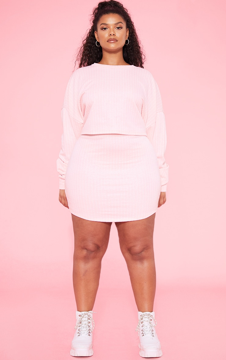 RECYCLED Plus Blush Pinstripe Sweat Bodycon Skirt