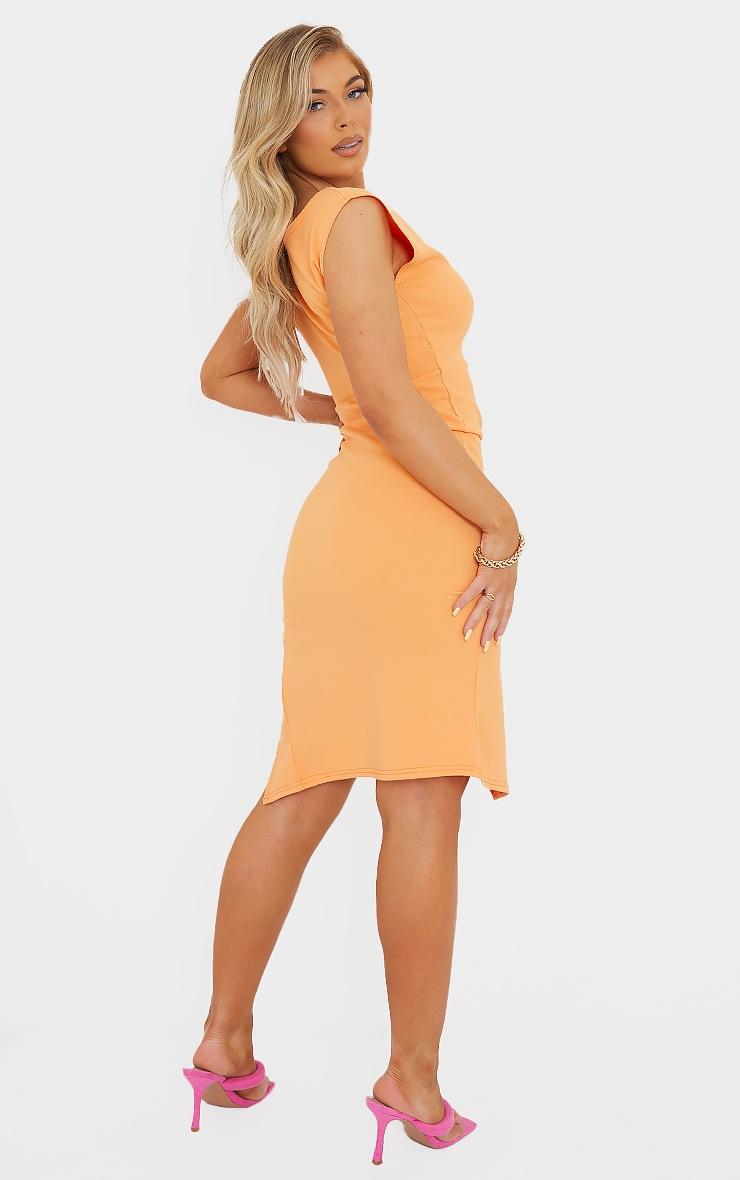 Tangerine Draped Ruched Skirt Midi Dress 2