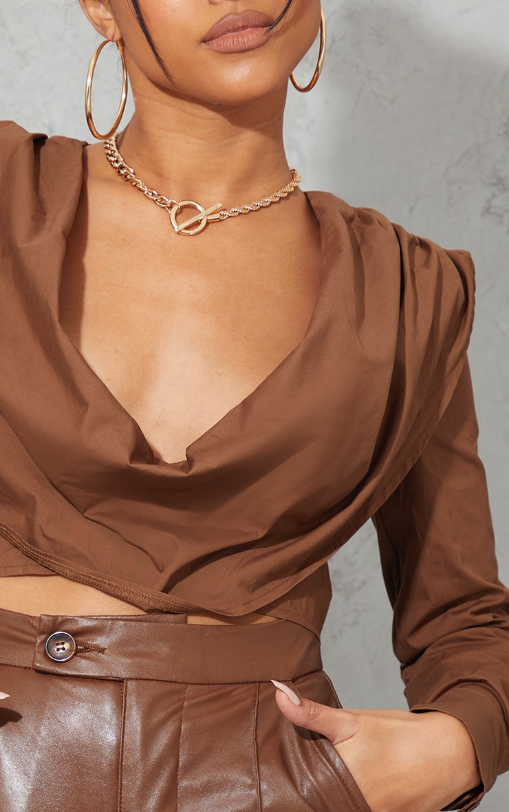 Latte Woven Shoulder Pad Draped Detail Long Sleeve Crop Top 4