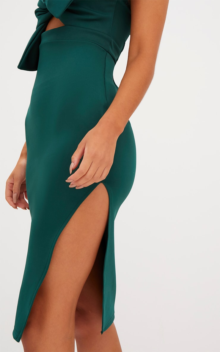 Emerald Green Bow Detail Scuba Midi Dress 5