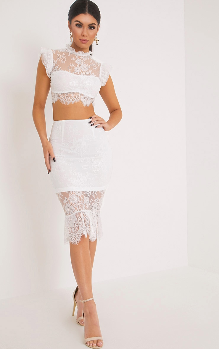 Marla White Lace High Neck Frill Crop Top 4
