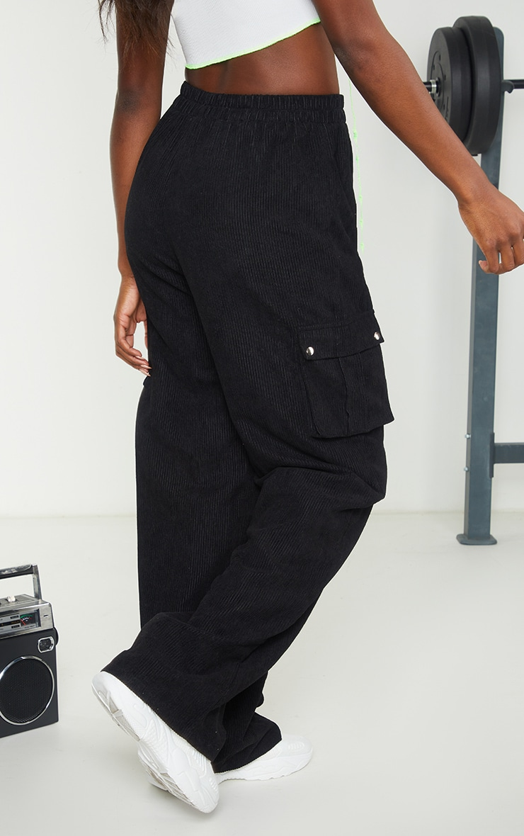 Black Cord Cargo Wide Leg Trousers 2