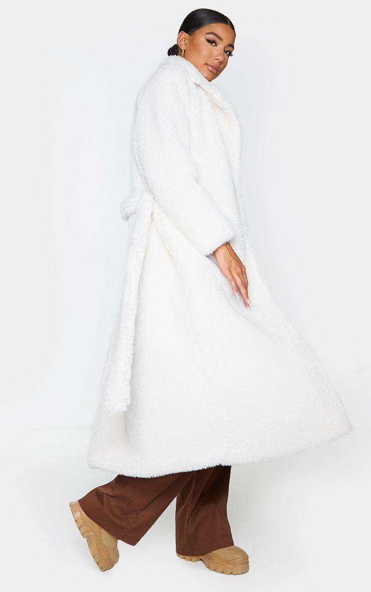 Cream Long Teddy Faux Fur Belted Coat 2