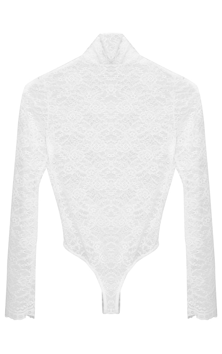 White Sheer Lace Bodysuit 3