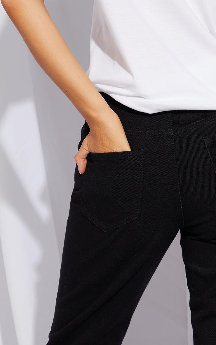 Petite Black Distressed Raw Hem Jeans 4