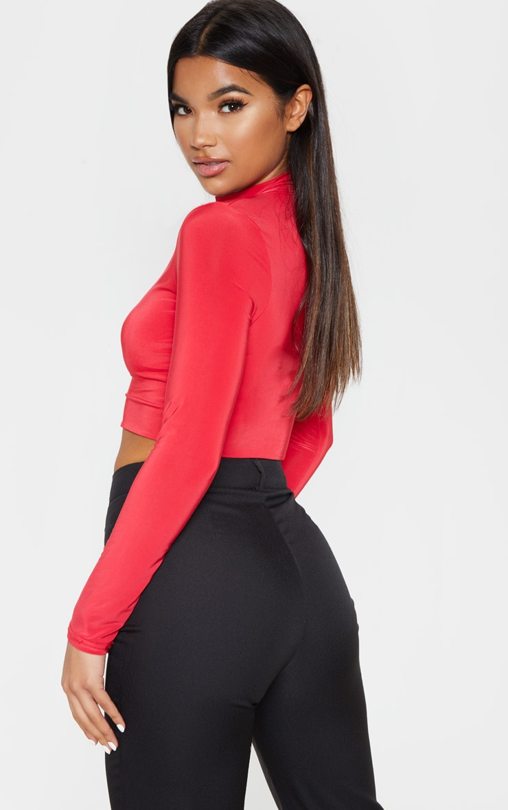 Red Slinky High Neck Long Sleeve Crop Top 2