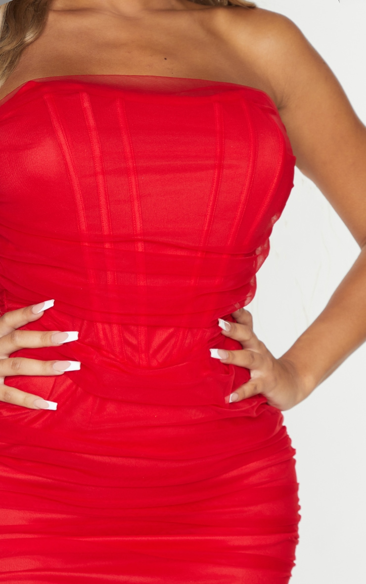 Shape Red Mesh Corset Detail Ruched Bodycon Dress 4